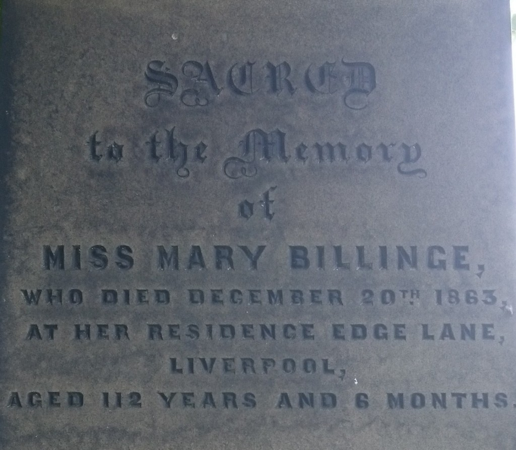 Mary Billinge 112 yr old grave toxteth