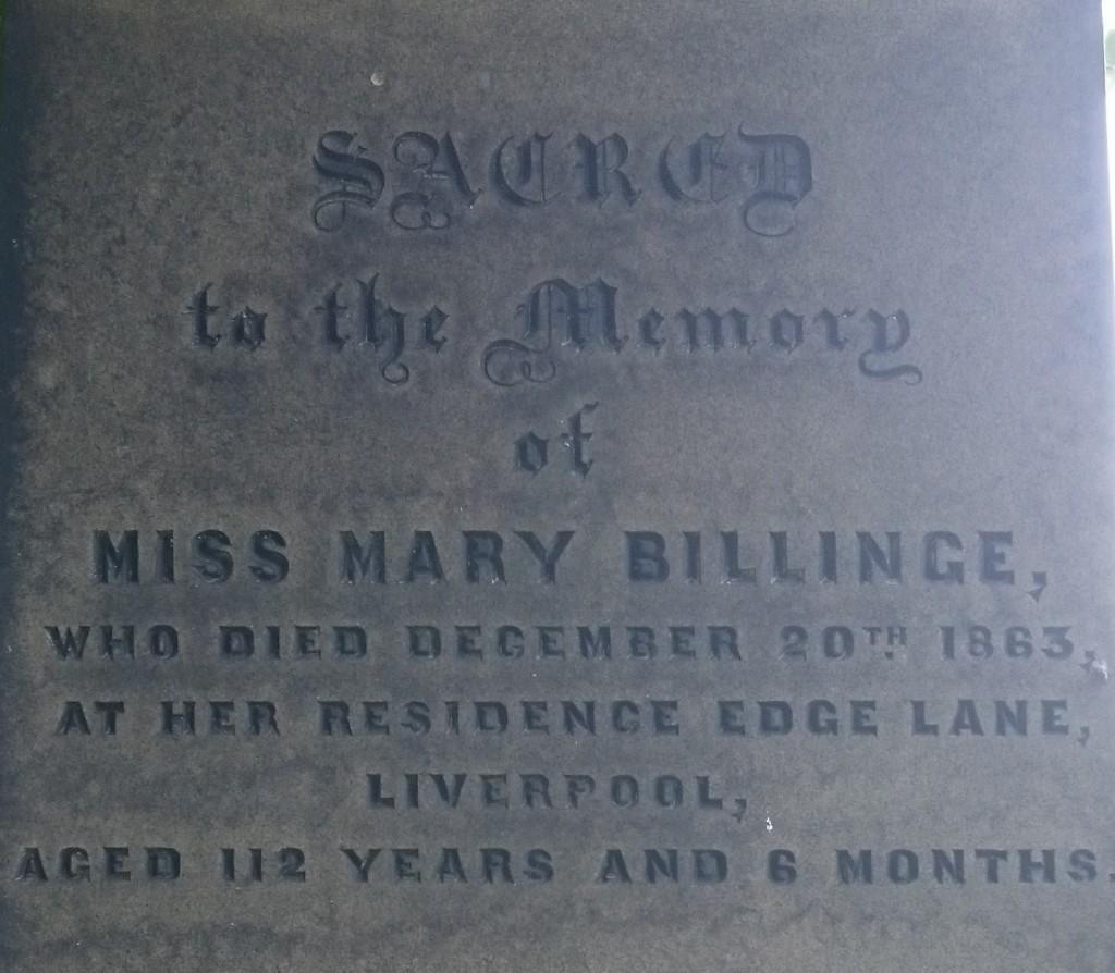 Mary Billinge 112 yr old grave toxteth
